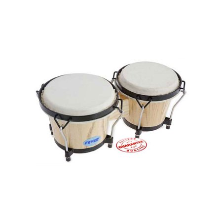 Fever Tunable Bongos 8 & 7 Inch with Black Rims Natural
