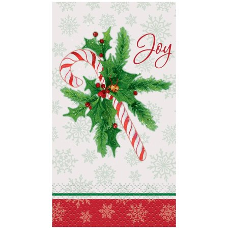 Candy Cane Christmas Paper Guest Napkins, 7.75 x 4.5 in, 16ct