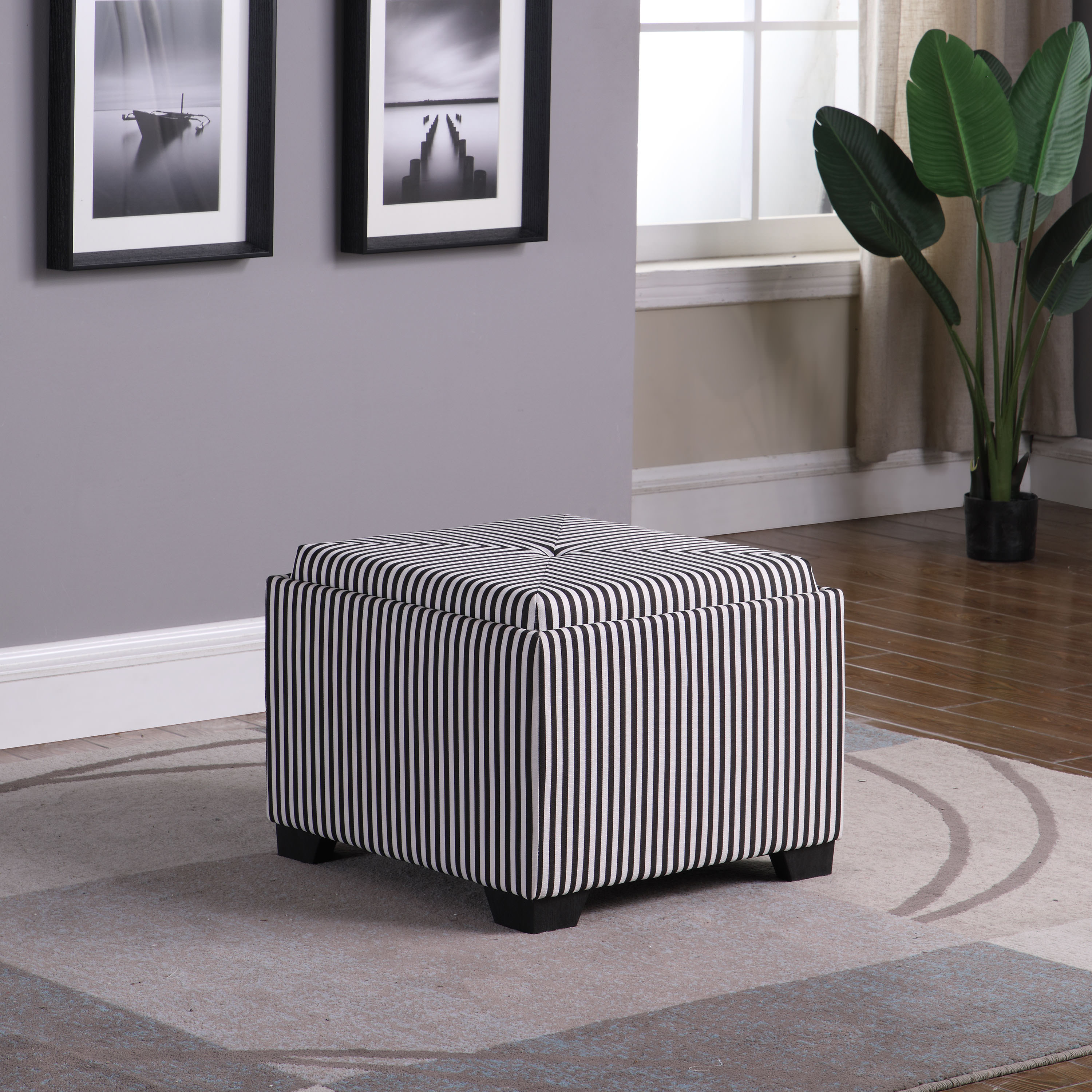 """17.5"""" in Black and White Stripes Single Tufted Stogae Ottoman"""