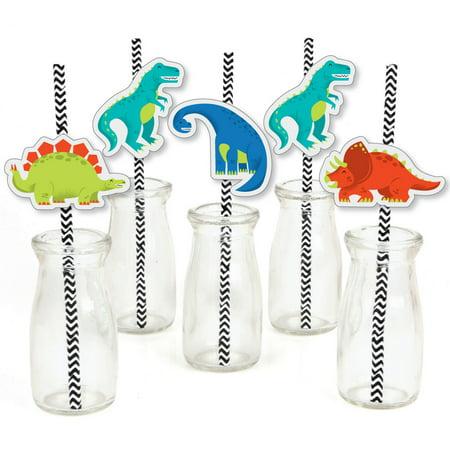 Roar Dinosaur - Paper Straw Decor - Dino Mite T-Rex Baby Shower or Birthday Party Striped Decorative Straws - Set of 24 (T-rex Stripe)