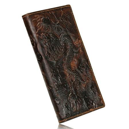 Men Brown Genuine Leather Dragon Long Short Wallet Coin Money Card Holder Clutch Money Long Wallet