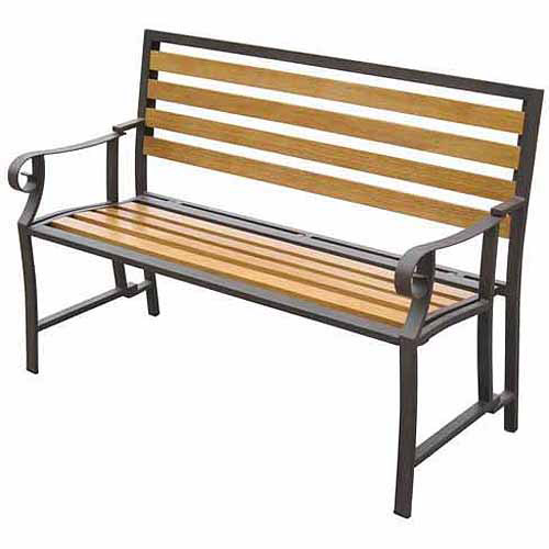 DC America Folding Park Bench with Bronze Steel Frame, Wood Slats Back and Seat