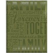 """Embossed Gloss Expressions Photo Album, 4.75"""" x 6.5"""", 100 Pocket, Family, Green"""