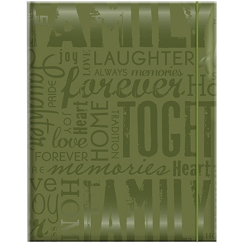 "Embossed Gloss Expressions Photo Album, 4.75"" x 6.5"", 100 Pocket, Family, Green"