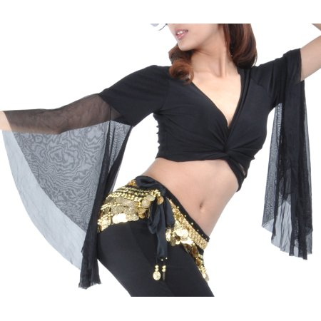 BellyLady Belly Dance Tribal Costume Wrap Top, Black-Black