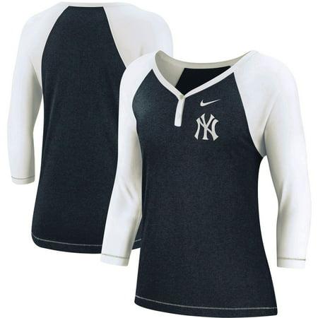 New York Yankees Nike Women's Henley 3/4-Sleeve Raglan Tri-Blend Performance V-Neck T-Shirt - - Performance Solid Raglan