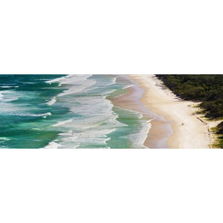 Byron Bay Surf - Panoramic Photo of Surfers Heading Out to Surf on Tallow Beach at Cape Byron Bay, Australia Print Wall Art By Matthew Williams-Ellis