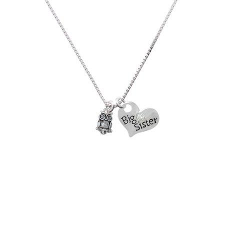 - Silvertone Mini Owl Big Sister Heart Necklace