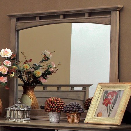 Oak Finish Butterfly Extension - Loxley Transitional Style Mirror In Weathered Oak Finish