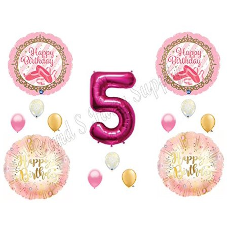 BALLERINA Twinkle Toes Gold Pink 5th Birthday Party Balloons Decoration Supplies Fifth](Ballerina Decorations)