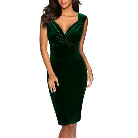 MIUSOL Women's Business Casual V Neck Wrap Velvet Dress with (Best Business Casual Dresses)