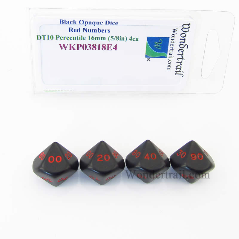 Black Opaque Dice with Red Numbers DT10 16mm (5/8in) Pack of 4 Wondertrail