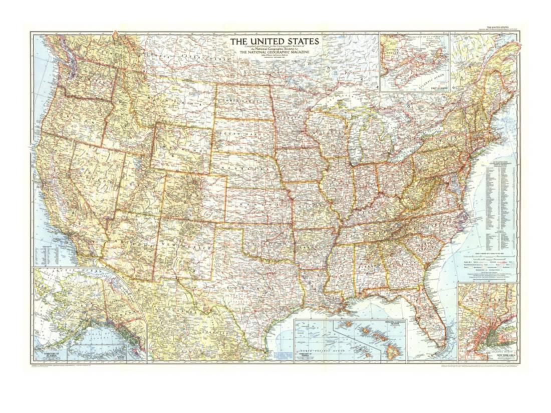 1956 United States of America Map Print By National Geographic Maps ...
