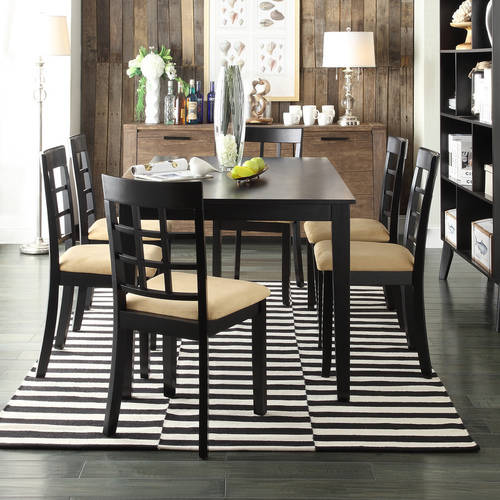 "Lexington 7-Piece 60"" Width Table Dining Set with Window-Back Chairs, Black"