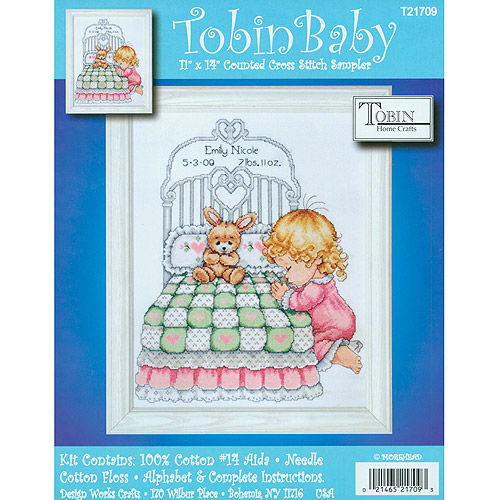 Tobin Bedtime Prayer Boy Birth Record Counted Cross Stitch Kit
