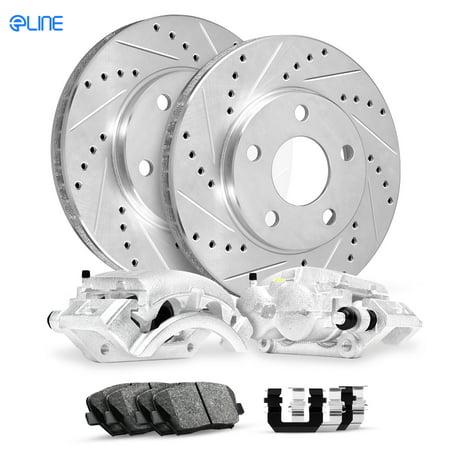 For 2007-2010 Hyundai Elantra FRT Calipers+Drill Slot Brake Rotors+Pads+Hardware