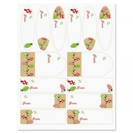 Kraft Holiday Lights Christmas To/From Labels - Set of 42 gift tags