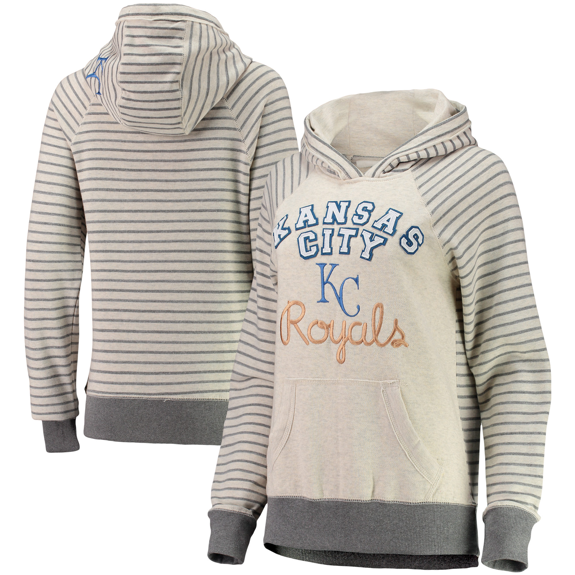 Kansas City Royals Soft as a Grape Women's Ultra Plush Striped Sleeve Pullover Hoodie - Cream/Gray