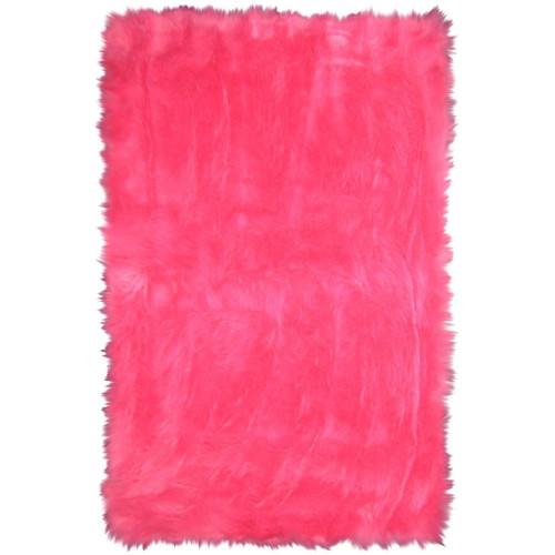 L.A. Rugs Flokati Hot Pink Area Rug