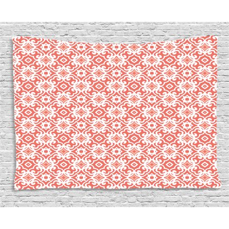 Coral Tapestry, Geometric Art Deco Pattern with Lacing Shapes 30s Style Vintage Motifs, Wall Hanging for Bedroom Living Room Dorm Decor, 60W X 40L Inches, Coral Light Coral White, by Ambesonne