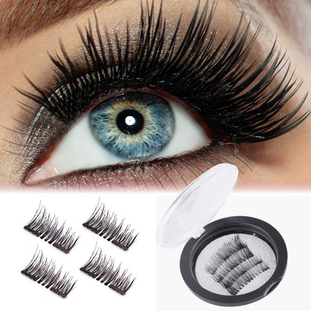 Magnetic Eyelashes Kit, Dense Magnetic False Eyelashes, 3D Reusable Soft False Eyelashes No Glue Cover the Entire Eyelids for Ladies Women Natural Look (Black, 4