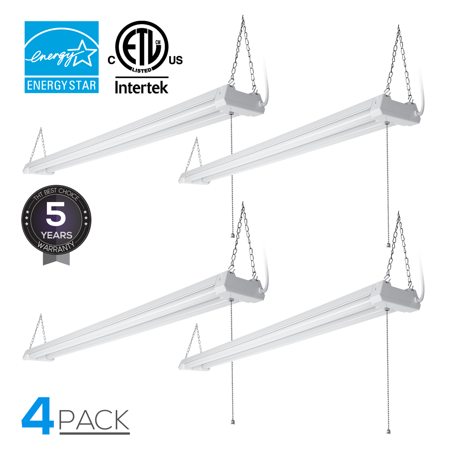 4-PACK 4ft 40W Linkable LED Utility Shop Light, 4100 Lumens, ENERGY STAR & ETL Listed, Double Integrated LED Ceiling Fixture, 4000K Cool White, Pull Cord Switch, Garage/Basement/Workshop