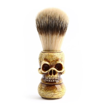 Men Shaving Brush Resin Skull Head Skeleton Natural Resin Handle Makeup Brush Barber Tools For Men (Easy Skeleton Make Up)