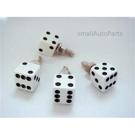 SmallAutoParts White Dice License Plate Frame Fasteners Bolts, Set Of 4 ()