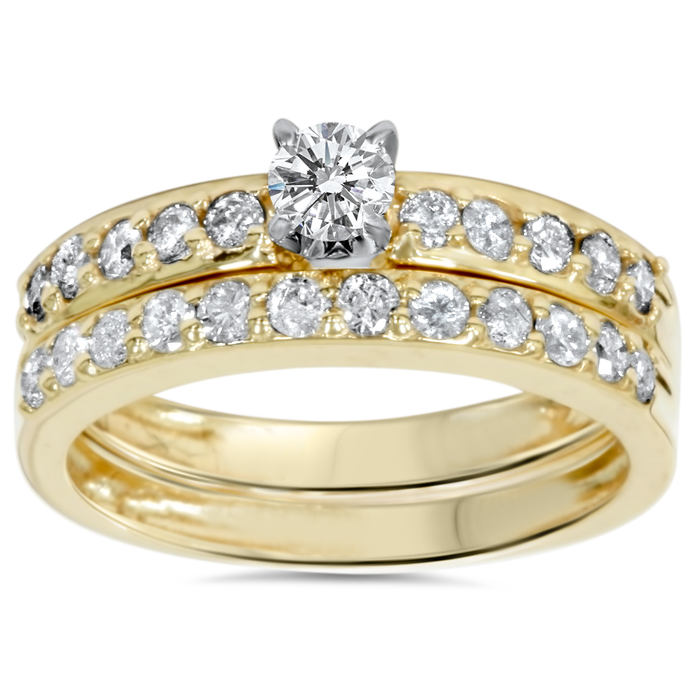 14k Yellow Gold 1 Carat Diamond Engagement Ring Matching Wedding Band Set