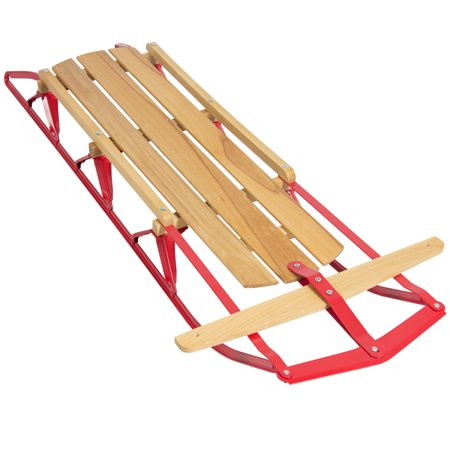 Best Choice Products 53in Kids Wooden Winter Snow Sled Sleigh Toboggan for Outdoor Play w/ Metal Runners, Flexible Steering Bar, 220lb Capacity - Natural/Red