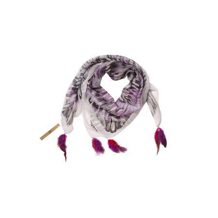 Purple Vismaya Tribal Watercolor Feather Scarf