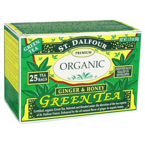 St. Dalfour Green Tea Premium Organic, Ginger And Honey - 25 Tea Bags