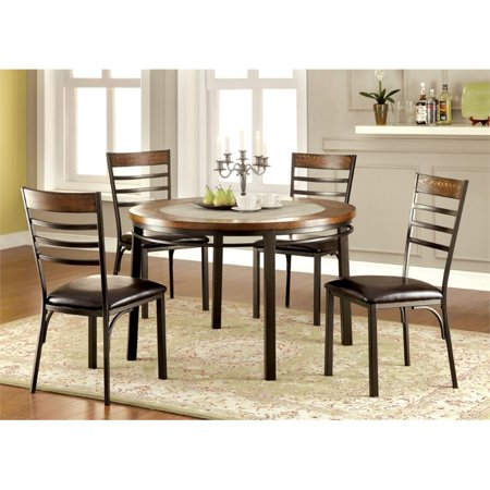 Furniture of America Cowan Round Dining Table in Bronze Breeze Dining Table