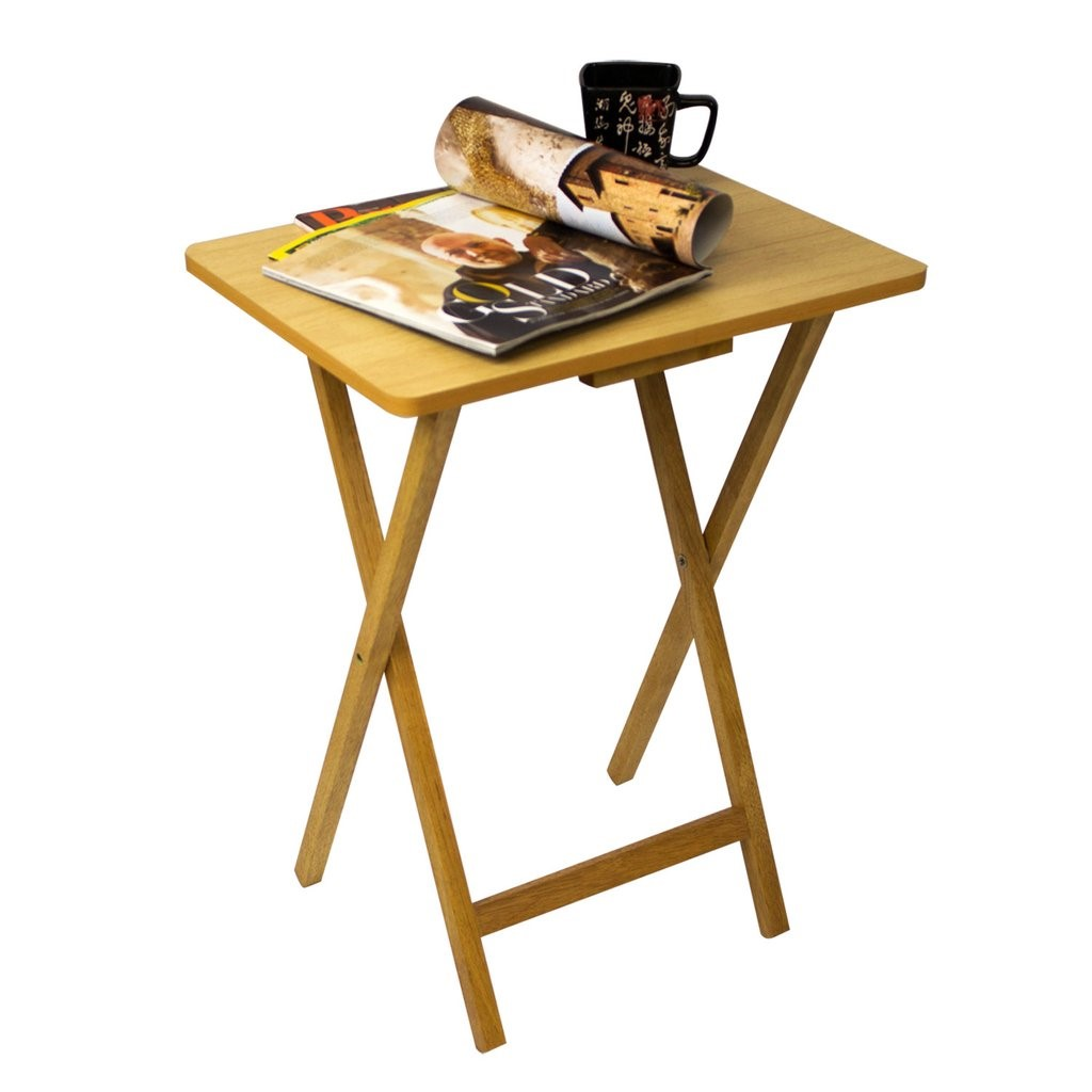 Furinno Easi Folding TV Tray Table 2-PC Set, Beech (12081BE)