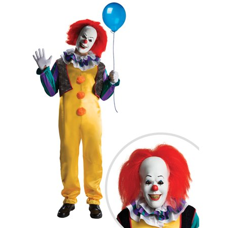 Adult Pennywise Deluxe Costume and Plastic Clown Shoes