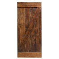 CALHOME 36 in. x 84 in. Dark Coffee Knotty Pine Sliding Barn Wood Interior Door slab