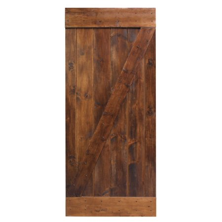 Knotty Alder Wood Doors (CALHOME 36 in. x 84 in. Dark Coffee Knotty Pine Sliding Barn Wood Interior Door slab)