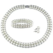 6-7mm and 7-8mm White Round Cultured Freshwater Pearl Sterling Silver Set of Necklace and Bracelet with Earrings, 17, 7