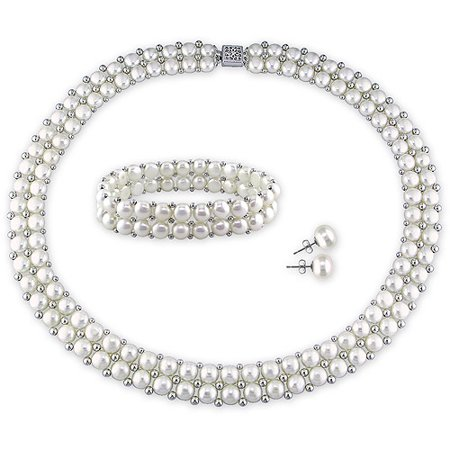 6-7mm and 7-8mm White Round Cultured Freshwater Pearl Sterling Silver Set of Necklace and Bracelet with Earrings, 17,