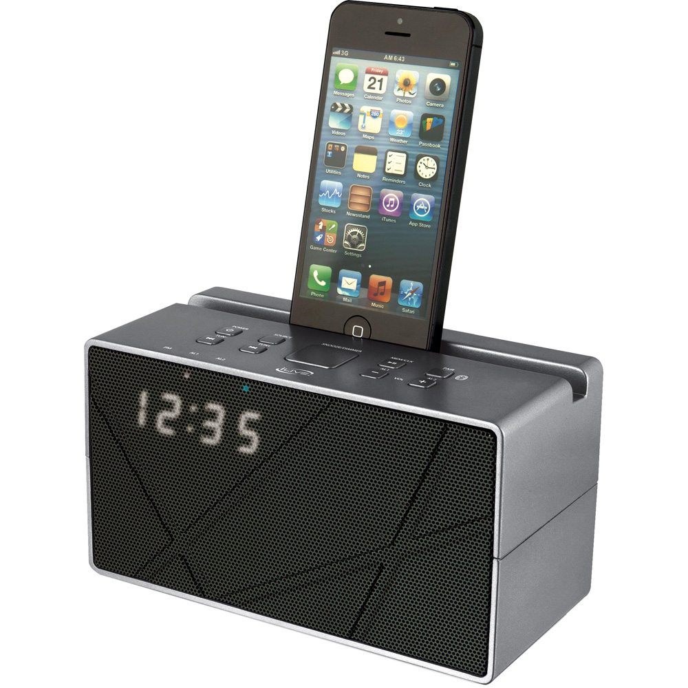 iLive ICB284S Bluetooth Dual Alarm Clock Radio with Built-In Cradle, Metallic Silver
