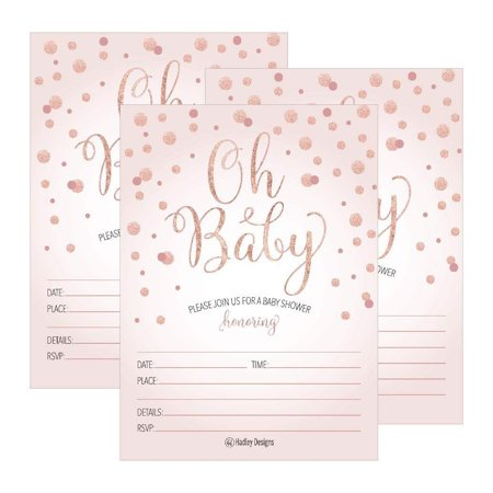 Blank Invitations - 25 Blush Rose Gold Girl Oh Baby Shower Invitations, Cute Princess Printed Fill Or Write in Blank Invite, Printable Shabby Chic Unique Custom Vintage Coed Twin Sprinkle Party Card Stock Paper Supplies