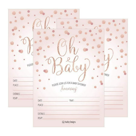 25 Blush Rose Gold Girl Oh Baby Shower Invitations, Cute Princess Printed Fill Or Write in Blank Invite, Printable Shabby Chic Unique Custom Vintage Coed Twin Sprinkle Party Card Stock Paper Supplies - Casino Invites