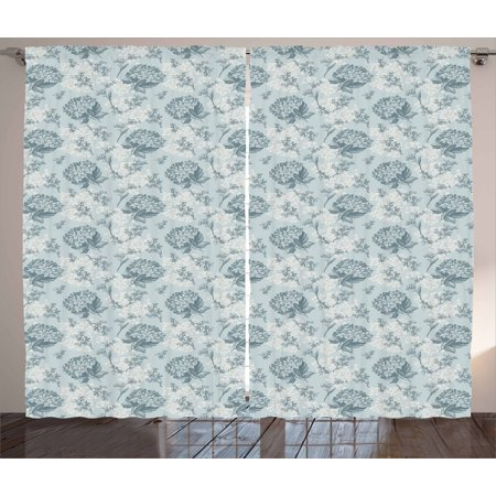 Floral Curtains 2 Panels Set, Shabby Chic Vintage Style Flowers Feminine Romantic Pastel Toned Artsy Pattern, Window Drapes for Living Room Bedroom, 108W X 84L Inches, Baby Blue Grey, by Ambesonne ()