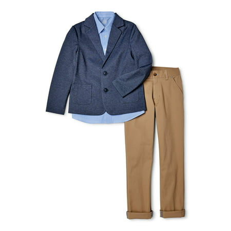 Wonder Nation Boys 4-14 & Husky Suit Set with Knit Blazer, Button-up Shirt and Pants, 3-Piece Outfit Set