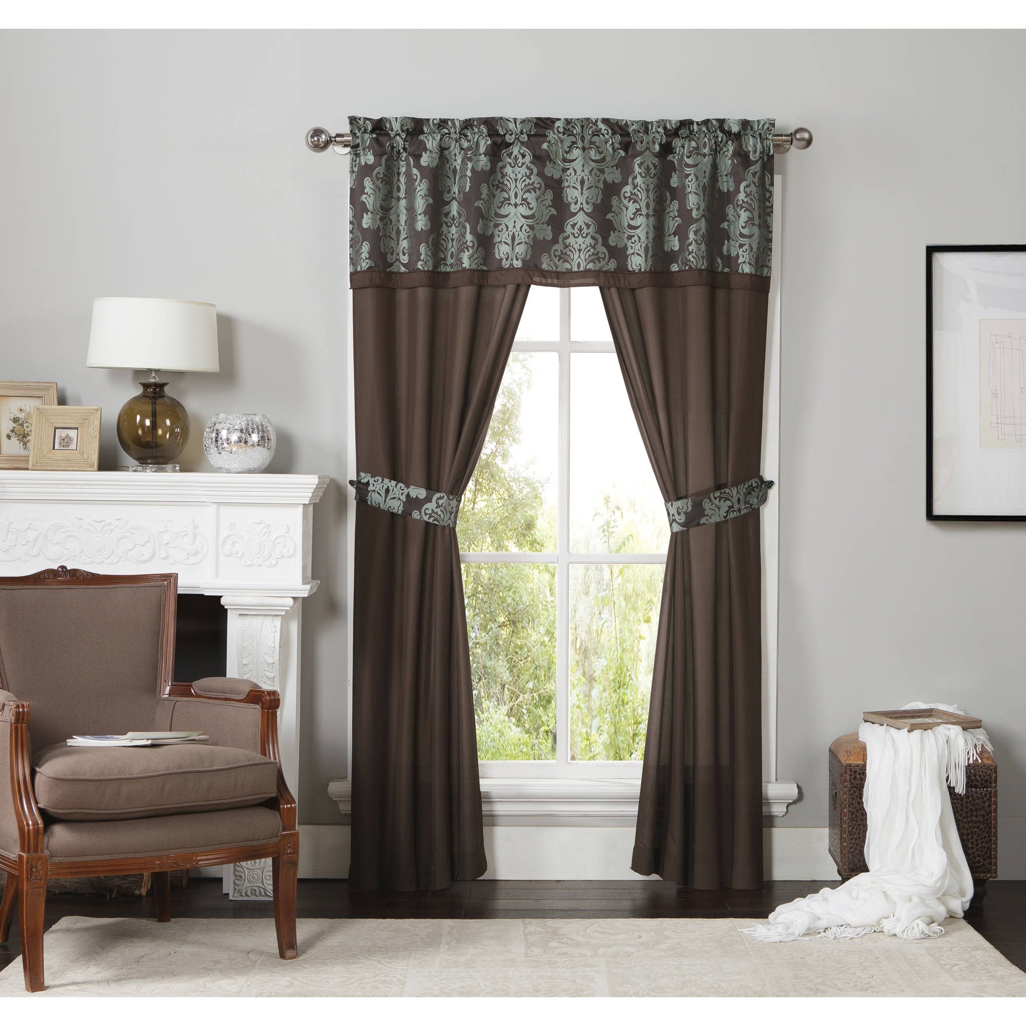 Mainstays 2-Tone Dalton Damask Complete Window Set, Curtain Panels and Valance Included