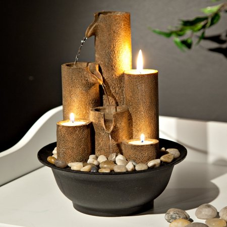 Alpine Tiered Column Tabletop Fountain w/ 3 Candles, 11 Inch Tall