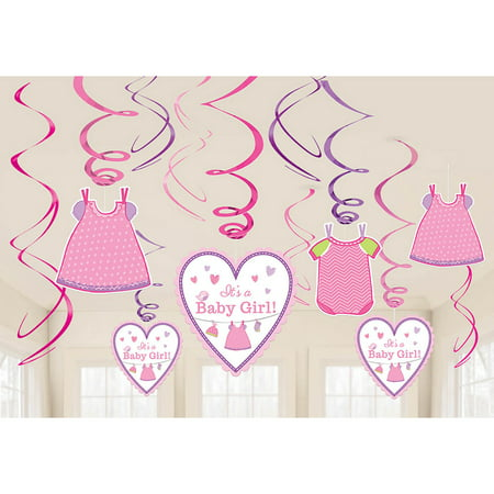 Shower With Love Baby Girl Foil Swirl Decorations (12 Pieces) - Baby Shower Party Supplies (Baby Shower Decor For Girls)