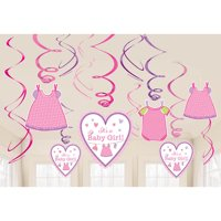 Shower With Love Baby Girl Foil Swirl Decorations (12 Pieces) - Baby Shower Party Supplies