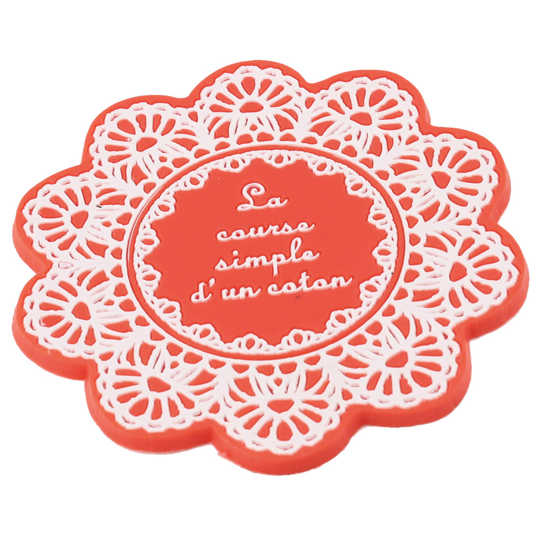 Orange Red Floral Shaped Silicone Cup Bottle Mug Glass Coaster Mat Pad