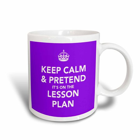 3dRose Keep calm and pretend it?s on the lesson plan, Ceramic Mug, 11-ounce (Believe Large Mug)